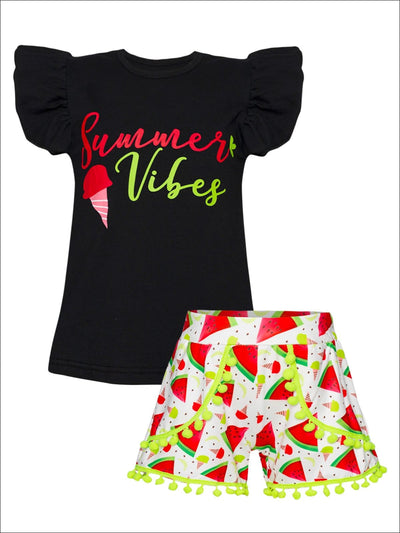 Girls Summer Vibes Flutter Sleeve Top & Watermelon Print Pom Pom Shorts Set - Black / XS-2T - Girls Spring Casual Set