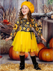Girls Sunflower Animal Print Long Sleeve Tutu Skirt Dress with Bow - Girls Fall Casual Dress