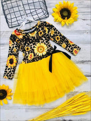 Girls Sunflower Animal Print Long Sleeve Tutu Skirt Dress with Bow - Yellow / 2T - Girls Fall Casual Dress