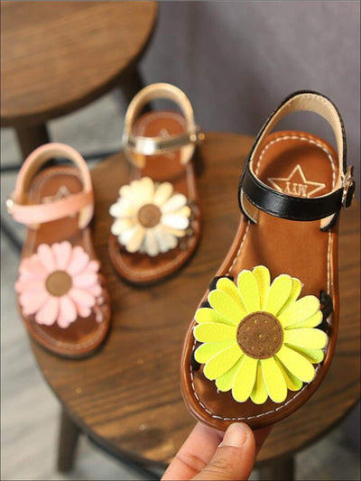 Girls Sunflower Applique Sandals - Girls Sandals