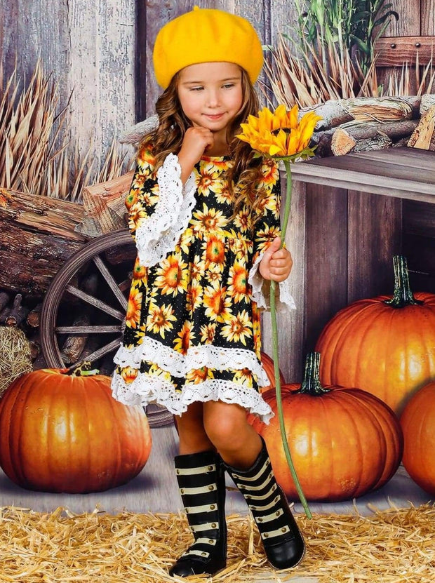 Girls Sunflower Print 2-Tiered Crochet Long Flared Sleeve Dress - Girls Fall Casual Dress
