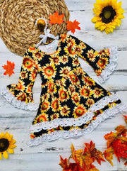 Girls Sunflower Print 2-Tiered Crochet Long Flared Sleeve Dress - Yellow / 2T - Girls Fall Casual Dress