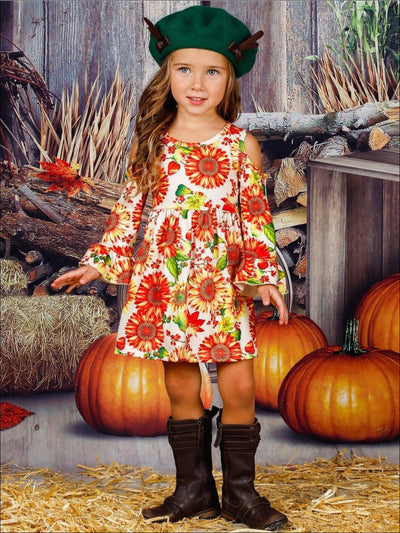 Girls Sunflower Print Cold Shoulder Ruffled Long Sleeve Dress - Girls Fall Casual Dress