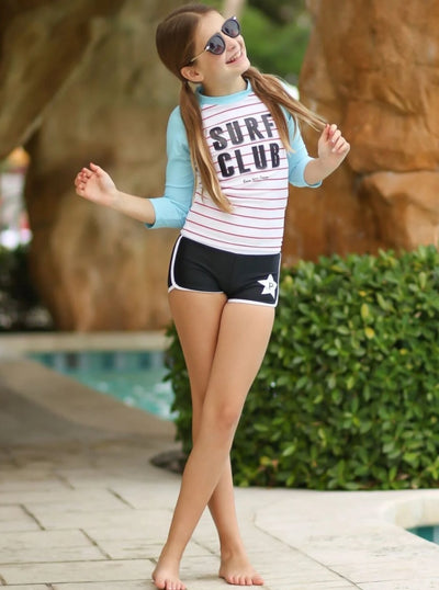 Girls Surf Club Rash Guard Shorts Two Piece Swimsuit - Girls Two Piece Swimsuit