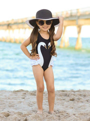 Girls Swan Side Ruffle One Piece Swimsuit - Girls One Piece Swimsuit