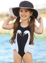 Girls Swan Side Ruffle One Piece Swimsuit - Black / 3T - Girls One Piece Swimsuit