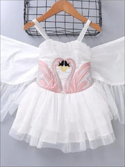 Girls Swan Tutu Dress Costume with Detachable Wings - Girls Halloween Costume