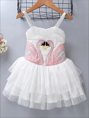 Girls Swan Tutu Dress Costume with Detachable Wings - 8 / White - Girls Halloween Costume