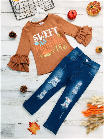 Girls Sweet as Pumpkin Pie Long Sleeve Ruffled Top & Ripped Jeans Set - Brown / 3T - Girls Thanksgiving Set