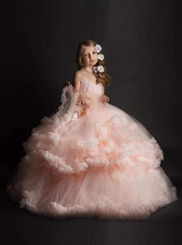 Girls Sweetheart Neckline Princess Ball Gown with Flower Applique ( Pink & Ivory) - Girls Gown