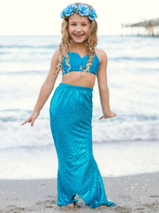 Girls Sweetheart Top Ruffled Mermaid Bikini With Tail Skirt - Girls Mermaid Swimsuit