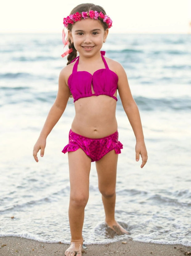 Girls Sweetheart Top Ruffled Mermaid Bikini With Tail Skirt Cover Up - Girls Mermaid Swimsuit