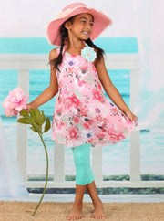 Girls Trimmed Flared Tunic & Capri Leggings - Pink / 2T/3T - Girls Spring Casual Set