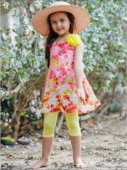 Girls Swing Tunic and Capri Leggings Set - Yellow / 2T/3T - Girls Spring Casual Set