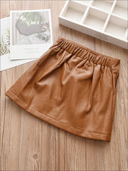 Girls Synthetic Leather A-Line Skirt - Girls Skirt