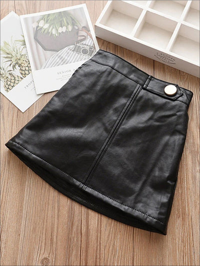 Girls Synthetic Leather A-Line Skirt - Black / 24M - Girls Skirt