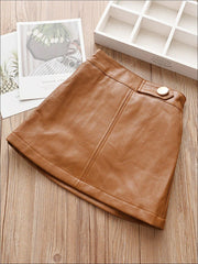 Girls Synthetic Leather A-Line Skirt - Brown / 24M - Girls Skirt
