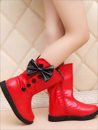 Girls Synthetic Leather Bow Mid-Calf Princess Booties - Red / 1 - Girls Boots