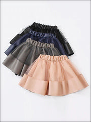 Girls Synthetic Leather Elastic Waist Tutu Skirt - Girls Skirt