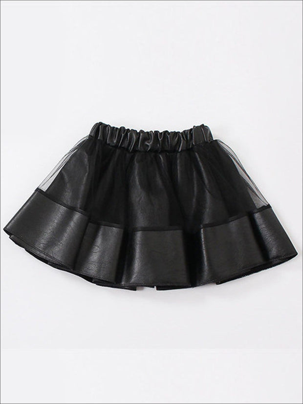 Girls Synthetic Leather Elastic Waist Tutu Skirt - Black / 4T - Girls Skirt