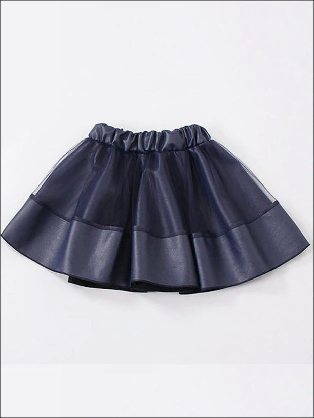Girls Synthetic Leather Elastic Waist Tutu Skirt - Blue / 4T - Girls Skirt