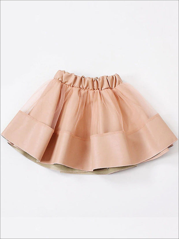 Girls Synthetic Leather Elastic Waist Tutu Skirt - Pink / 4T - Girls Skirt
