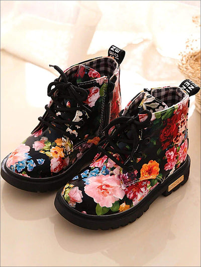 Girls Synthetic Leather Floral Combat Boots - Black / 5 - Girls Boots