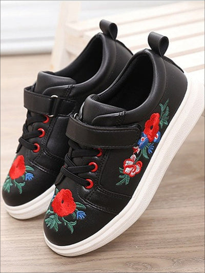 Girls Synthetic Leather Flower Embroidered Sneakers - Black / 1 - Girls Sneakers