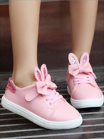 Girls Synthetic Leather Glitter Bunny Ears Sneakers With Bow Detail - Girls Sneakers