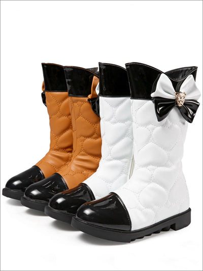 Girls Synthetic Leather Heart Pattern with Bow Detail Princess Booties - Girls Boots