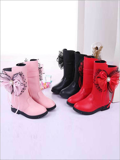 Girls Synthetic Leather Mid-Calf Bow Tie Pearl Embellished Boots - Girls Boots