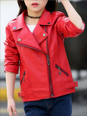 Girls Synthetic Leather Moto Jacket - Red / 3T - Girls Jacket