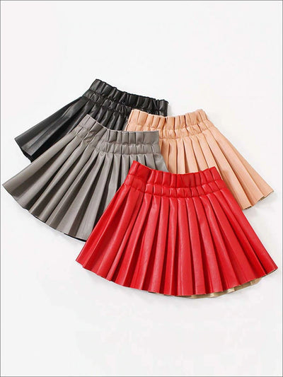 Girls Synthetic Leather Pleated Skirt - Girls Skirt