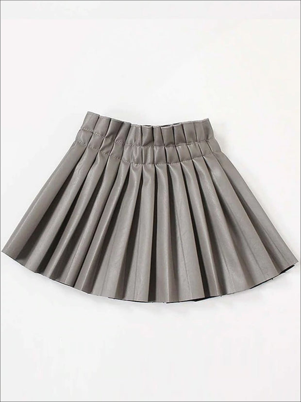 Girls Synthetic Leather Pleated Skirt - Gray / 3T - Girls Skirt