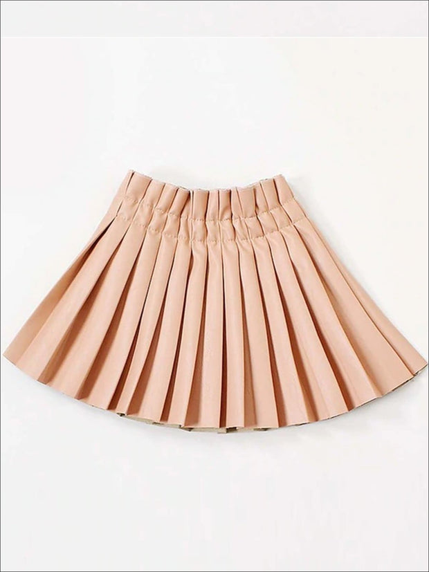 Girls Synthetic Leather Pleated Skirt - Pink / 3T - Girls Skirt