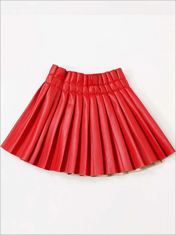 Girls Synthetic Leather Pleated Skirt - Red / 3T - Girls Skirt