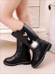 Girls Synthetic Leather Pom Pom Tassel Mid-Calf Boots - Black / 1 - Girls Boots