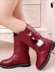 Girls Synthetic Leather Pom Pom Tassel Mid-Calf Boots - Burgundy / 1 - Girls Boots