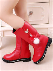 Girls Synthetic Leather Pom Pom Tassel Mid-Calf Boots - Red / 1 - Girls Boots