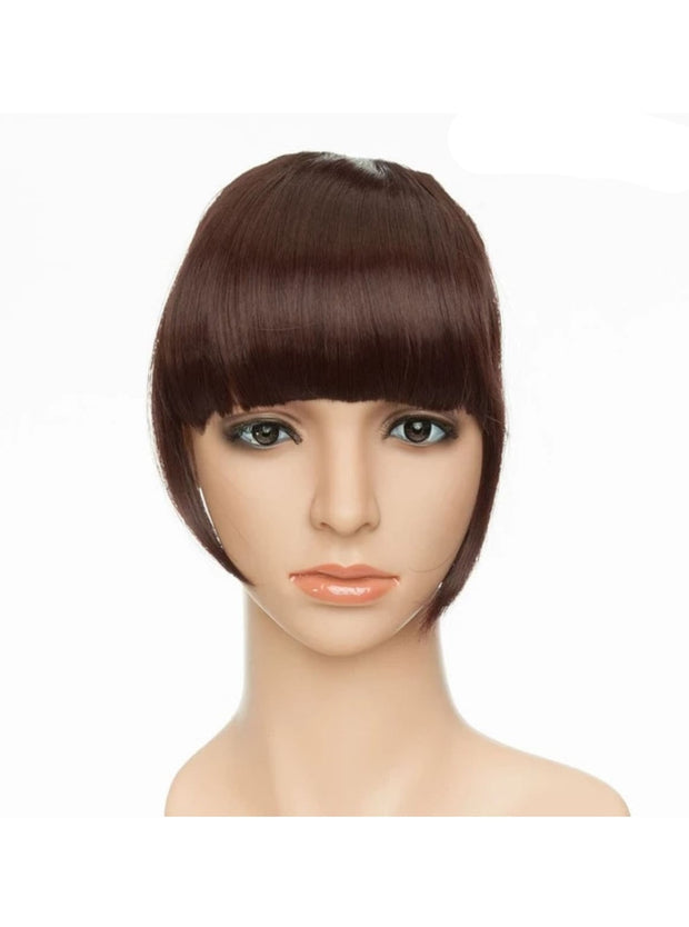 Girls Synthetic Removable Clip-On Bangs - Dark Auburn / One Size - Girls Halloween Costume