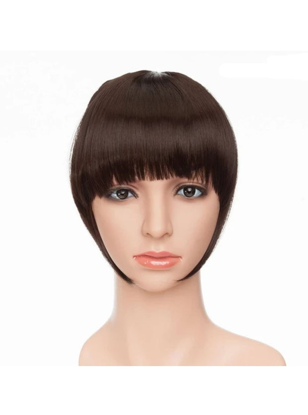 Girls Synthetic Removable Clip-On Bangs - Dark Brown / One Size - Girls Halloween Costume