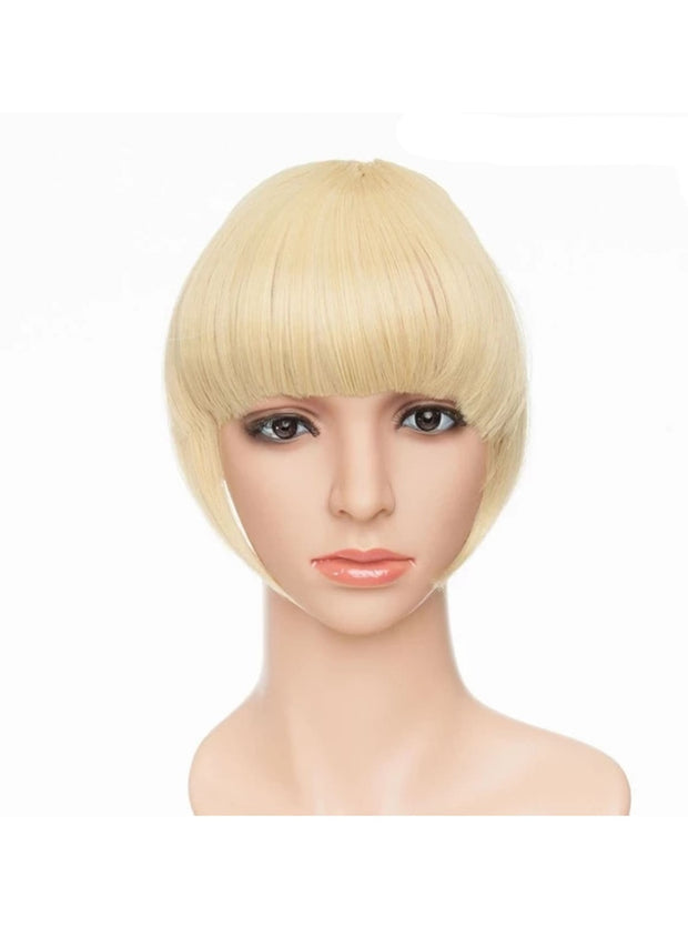 Girls Synthetic Removable Clip-On Bangs - Golden Bleach blonde / One Size - Girls Halloween Costume