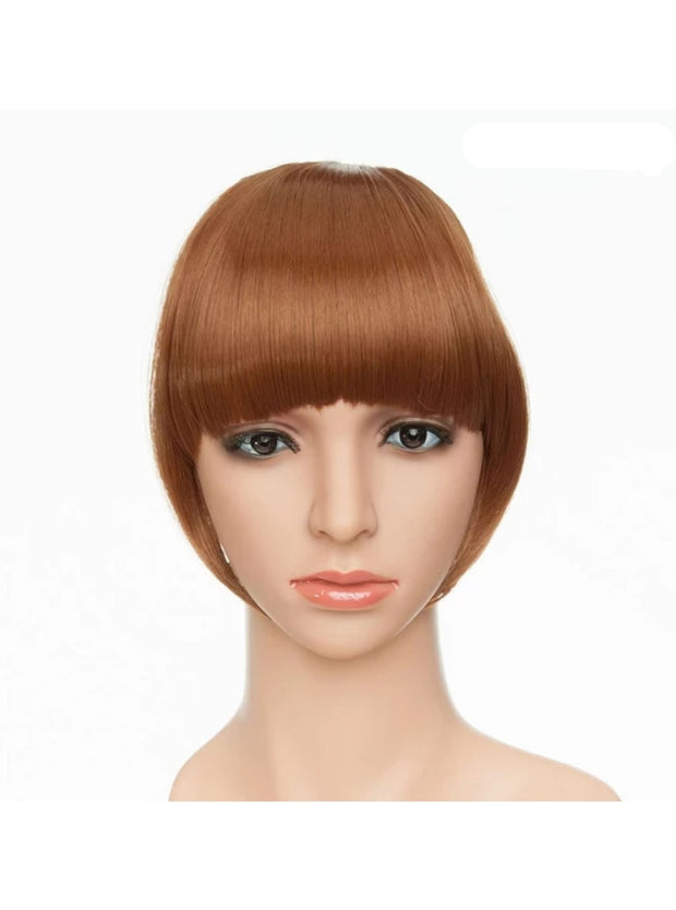 Girls Synthetic Removable Clip-On Bangs - Light Auburn / One Size - Girls Halloween Costume
