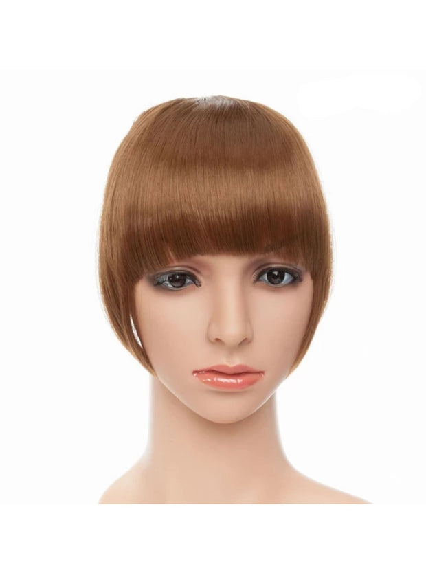 Girls Synthetic Removable Clip-On Bangs - Light Brown / One Size - Girls Halloween Costume