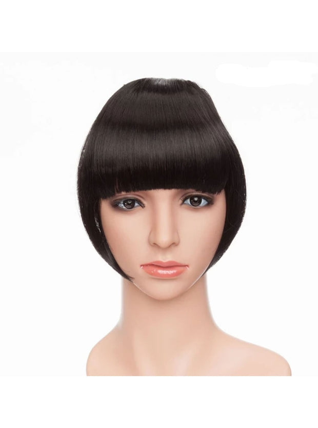 Girls Synthetic Removable Clip-On Bangs - Natural Black / One Size - Girls Halloween Costume