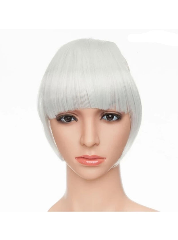 Girls Synthetic Removable Clip-On Bangs - Silvery Grey / One Size - Girls Halloween Costume