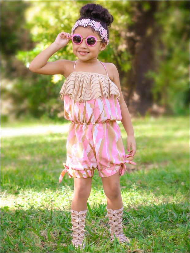 Girls Tan & Pink Brushstroke Print Spaghetti Strap Banded Bottom Jumper with Lace Ruffle - Girls Jumpsuit