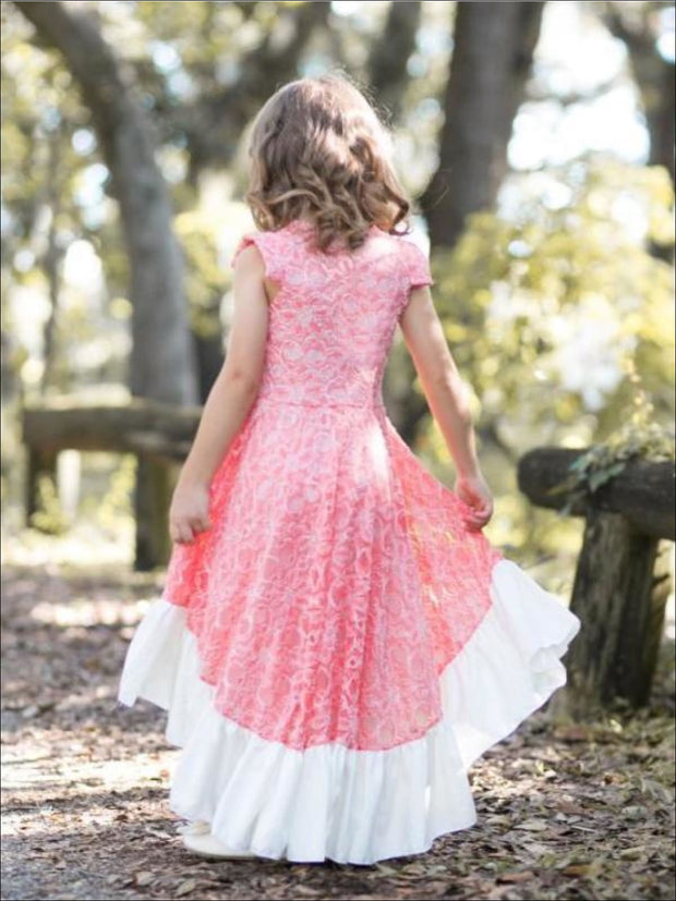 Girls Tangerine Lace Hi-Low Ruffle Hem Twirl Dress - Girls Spring Dressy Dress