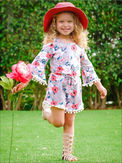 Girls Taupe Floral Flared Boho Sleeve Cold Shoulder Pom Pom Trim Elastic Waist Bow Tie Jumper - Girls Jumpsuit