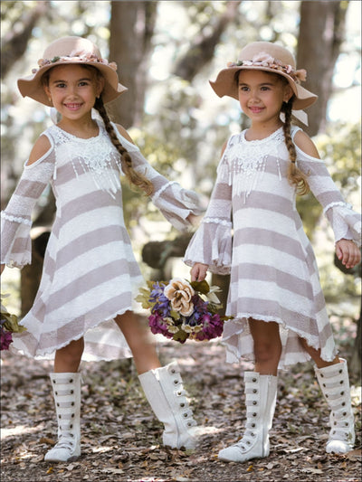 Girls Taupe Ivory Cold Shoulder Hi-Lo Bell Sleeve Dress with Fringed Crochet Collar - Girls Fall Casual Dress